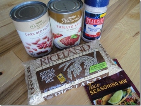 Mexican beans and rice ingredients