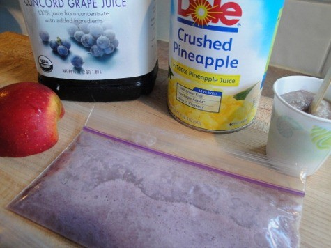 ingredients for dairy-free homemade popsicles: grape juice, apple, crushed pineapple