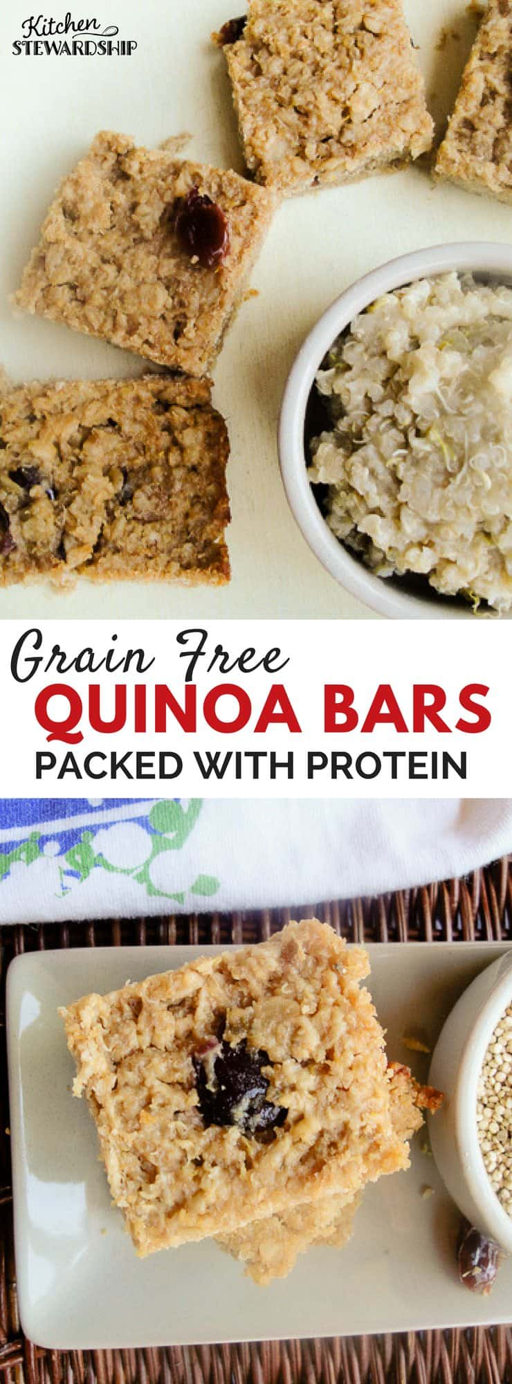 Packed with protien from nuts and quinoa these bars will become your go-to snack for on-the-go!