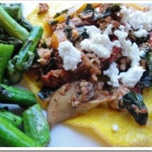 CSA Greens Recipe: Italian Salmon (or Mushrooms) with Greens and Goat Cheese