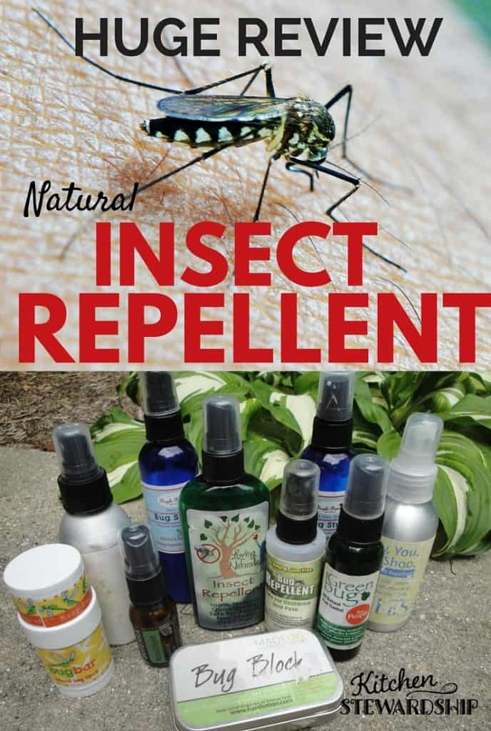 Natural bug repellent bottles lined up together and a bug on skin.