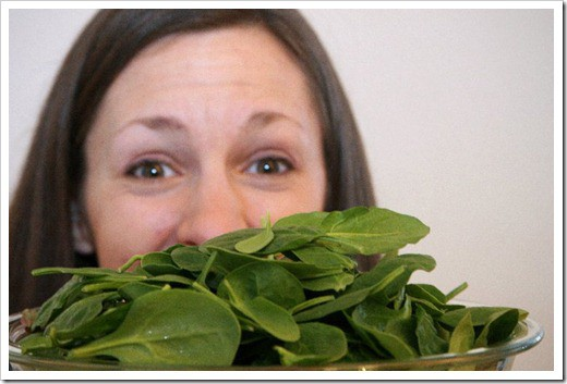 hiding behind spinach