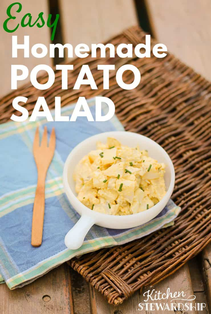 Four ingredients, done! I'll eat homemade potato salad (with mustard, please!) any time of day - this recipe will quickly teach you the simplest way to make it and you'll never need a recipe again!