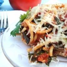 Tomato Basil Einkorn Pasta with Greens Recipe