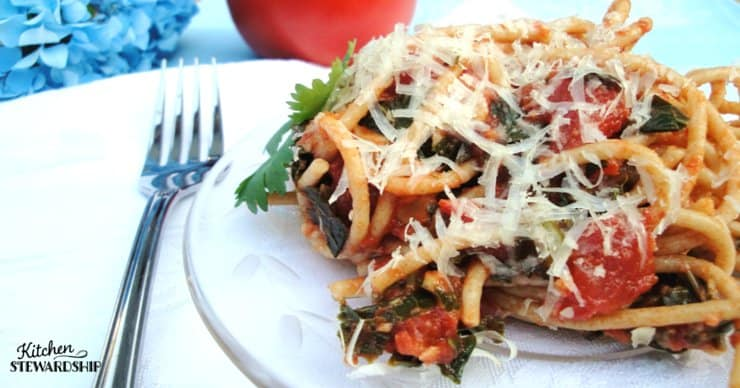 Tomato Basil Einkorn Pasta With Greens