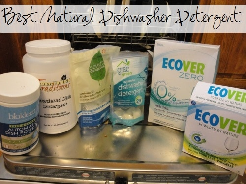 Looking for the perfect natural dishwasher detergent?  I reviewed various homemade ones, and then a handful of natural brands to find the best one!