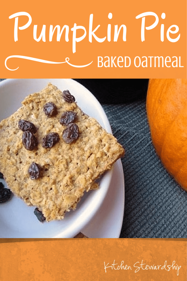 Pumpkin Pie Baked Oatmeal Healthy soaked baked oatmeal recipe infused with the spices of autumn and a harvest of nutritious orange vegetables. Want your kids to eat veggies for breakfast? This is the recipe!