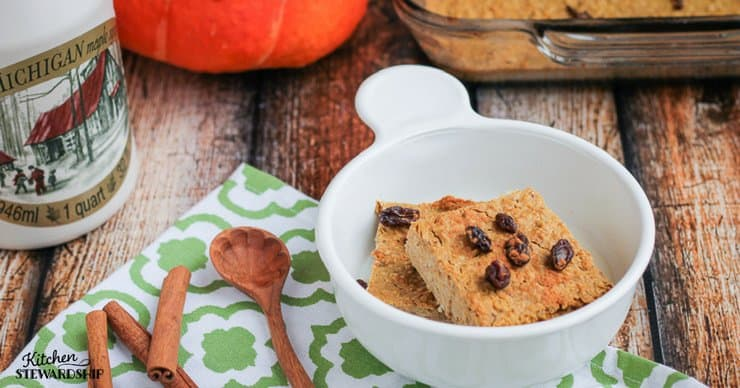 Healthy soaked baked oatmeal recipe infused with the spices of autumn and a harvest of nutritious orange vegetables. This is how to serve veggies for breakfast!