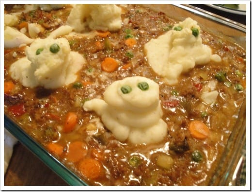 Spooky Ghost Shepherd's Pie for Halloween :: via Kitchen Stewardship