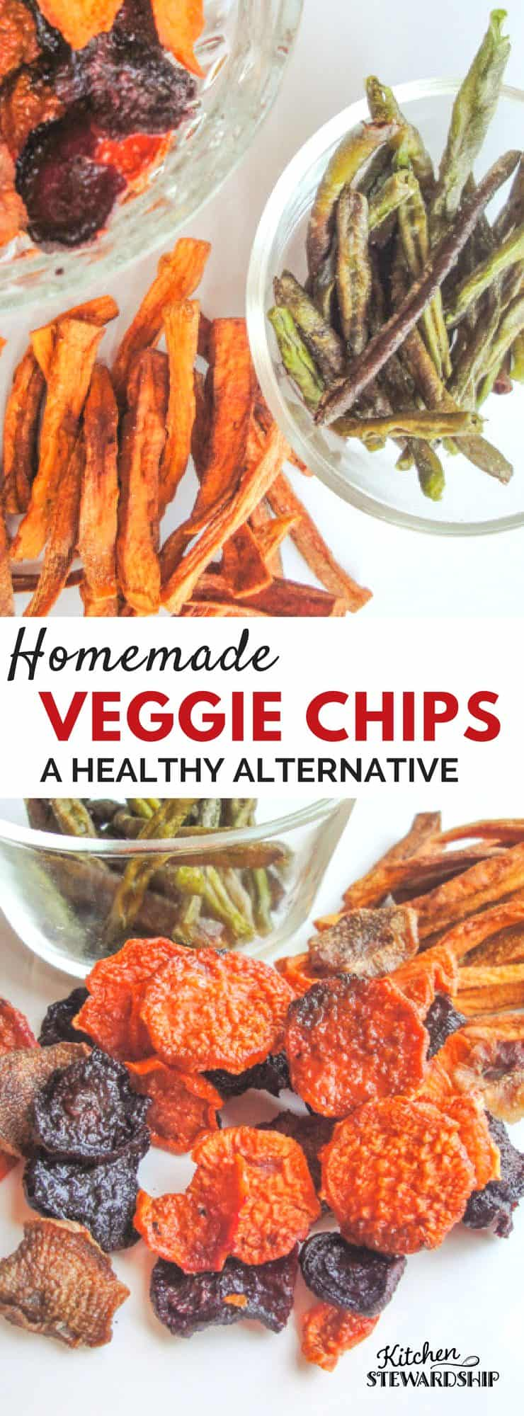 Looking for a real food alternative to potato chips and french fries? Try these homemade veggie chips and crispy green beans! The perfect healthy snack.