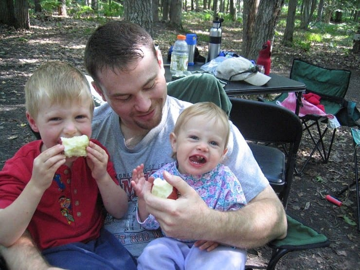 Daddy and kids semi real food camping