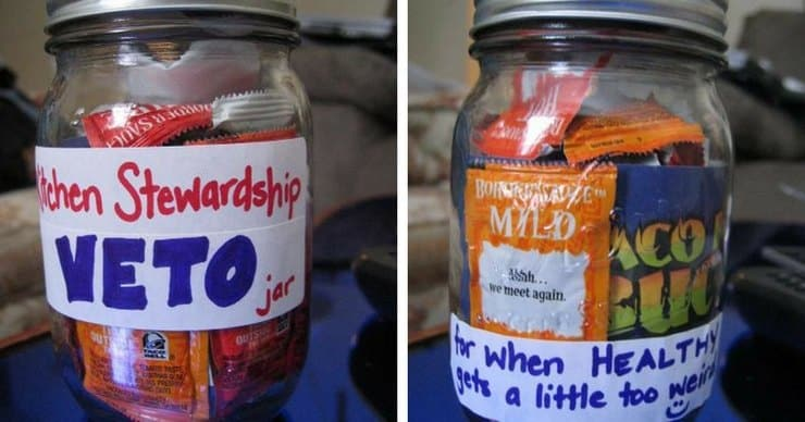 Kitchen Stewardship Veto Jar for when healthy gets a little too weird