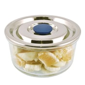 Round Airtight Glass Container with Stainless Steel Lid - Large