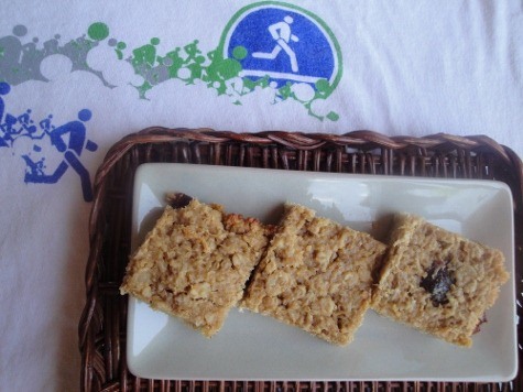 Quinoa peanut butter high protein bars on a plate