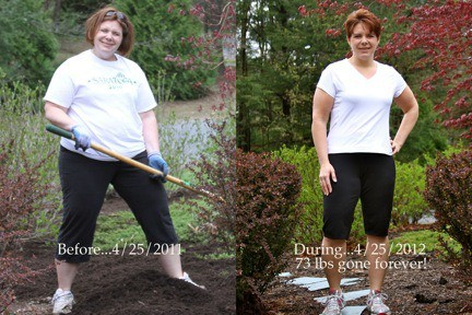 A before and after weight loss photo shared by a Kitchen Stewardship reader