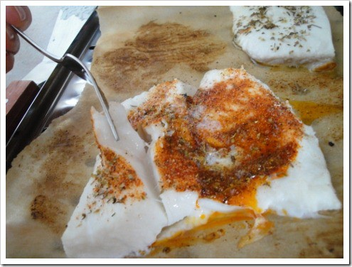 Alaskan halibut broiling fish