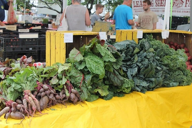 Beets and kale at the farmers market