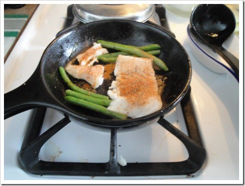 Pan fry Alaskan Halibut with Green Beans