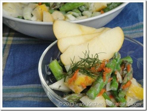 Springtime Asparagus Apple Fennel Salad with Dilly Dressing
