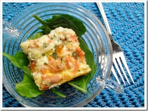 Salmon Spinach Pesto Crustless Quiche