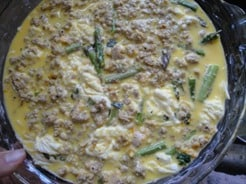 crustless quiche - making pesto asparagus