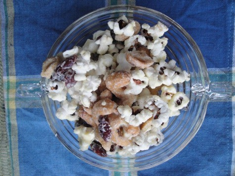 White Chocolate Covered Snack Mix :: via Kitchen Stewardship (fair trade chocolate, no junk)