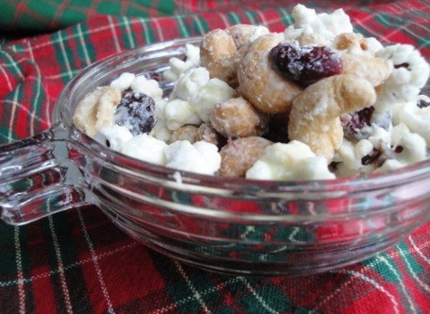 white chocolate covered salty sweet snack mix