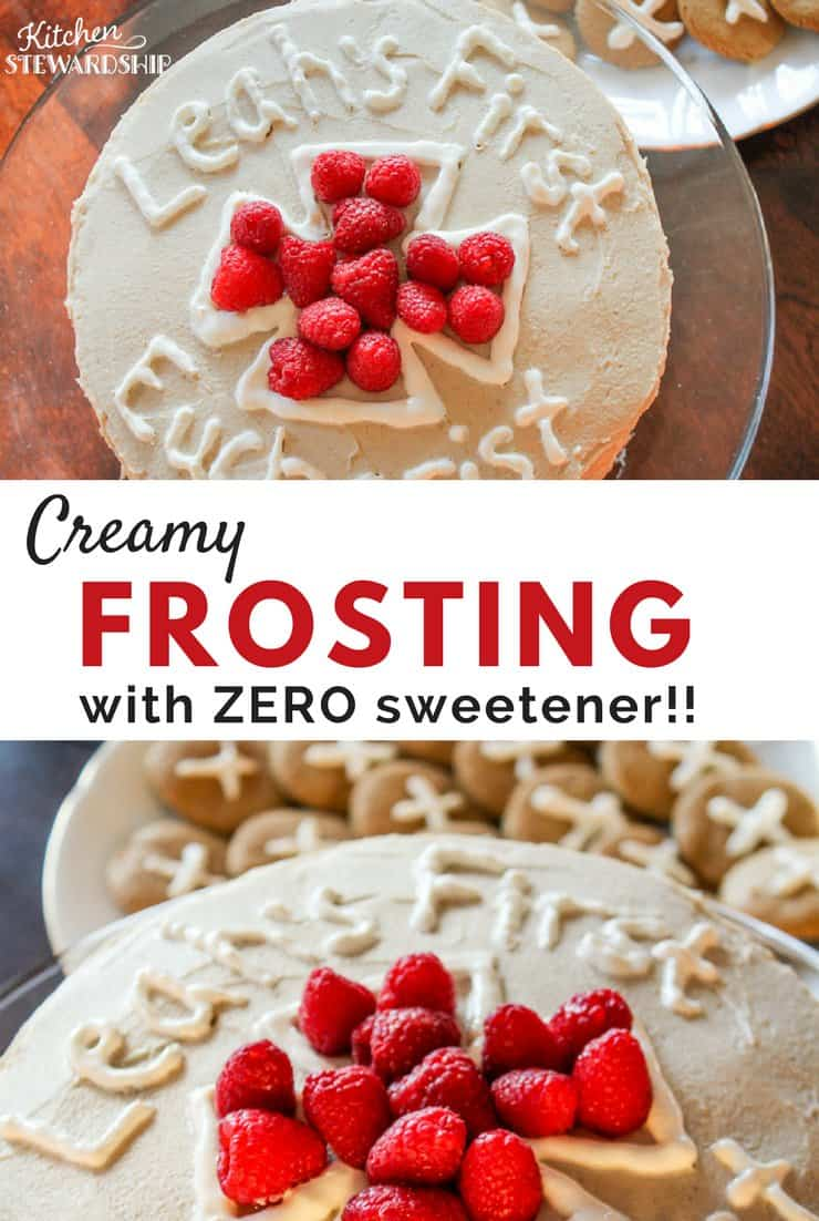This recipe will amaze you - real cake frosting with no sweetener of any kind, and it's still really good!