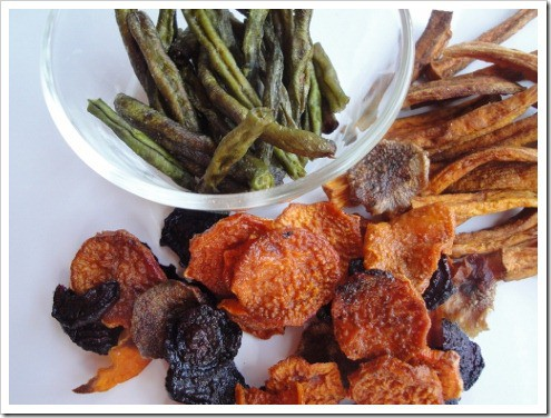 fried and dehydrated veggie snacks green beans sweet potatoes beet chips