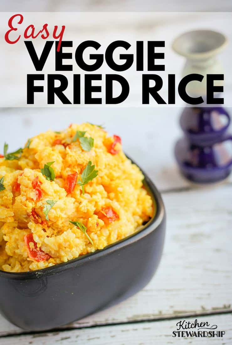 Need an easy dinner idea for those days when you just can't?! This Veggie Fried Rice dish will help you waste less food and spend less time in the kitchen.