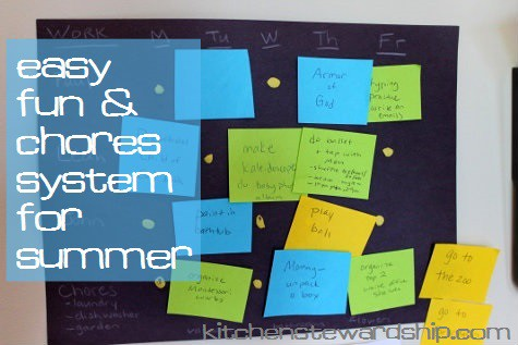 Easy Fun and Chore System for Summer