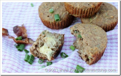 100% whole grain, soaked Bacon and Green Onion GF Muffins. Use any number of gluten-free flours for this muffin recipe (or just make whole wheat if you'd rather) and enjoy a unique savory muffin with your favorite soup or dinner.