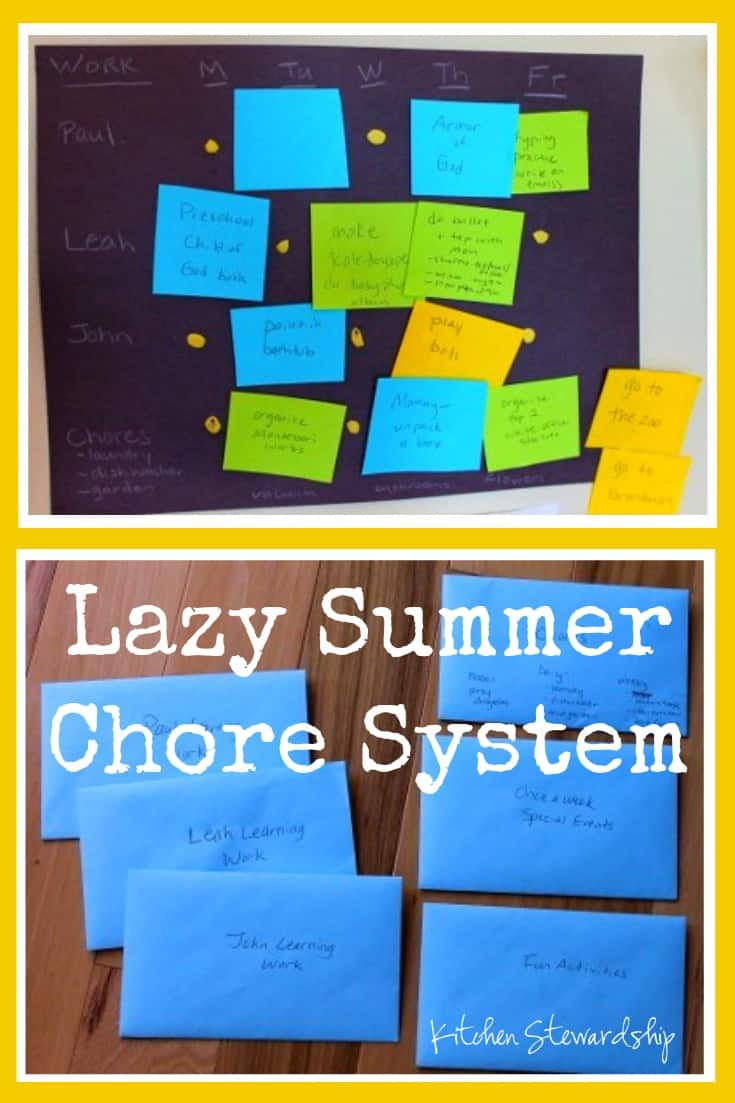 Lazy Summer Chore System. This simple lazy summer chore system using envelopes was born out of some serious Mommy guilt - it is fail-proof and flexible!