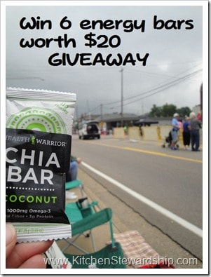 Health Warrior Chia Bar GIVEAWAY