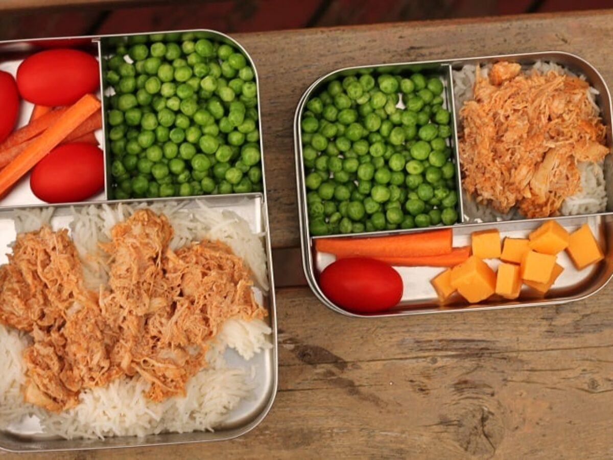Collapsible Lunch Box Extra Large with Two Compartments and Utensil by D eco by Deco