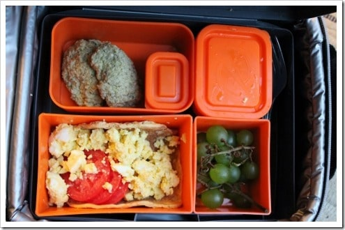 egg salad veggie nuggets grapes and yogurt Laptop lunchbox