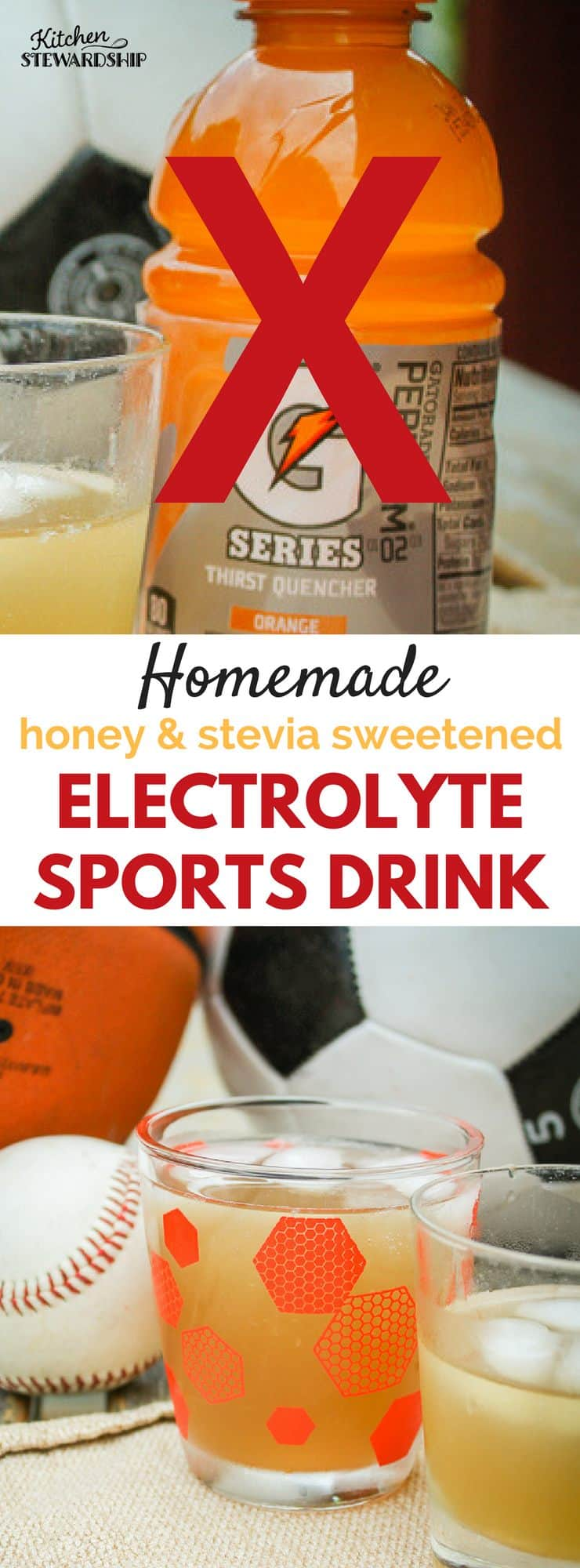 Like Gatorade but want something natural to replenish electrolytes? Here's a homemade sports drink recipe with honey and/or stevia that tastes just like lemon-lime Gatorade, but at a fraction of the cost and 100x the health benefits.