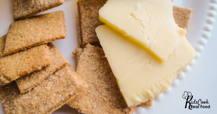 Plate of cheese and homemade crackers