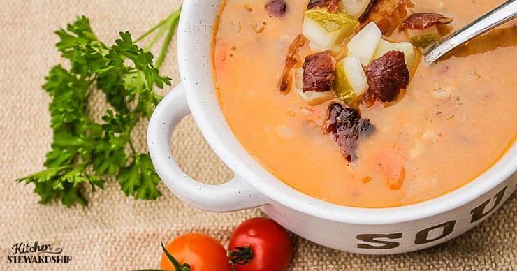 Cheeseburger Soup Recipe is just what it sounds like, including the bacon and pickles - so healthy, kid-friendly, and simple