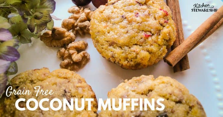 Grain Free coconut muffins, paleo coconut flour substitution