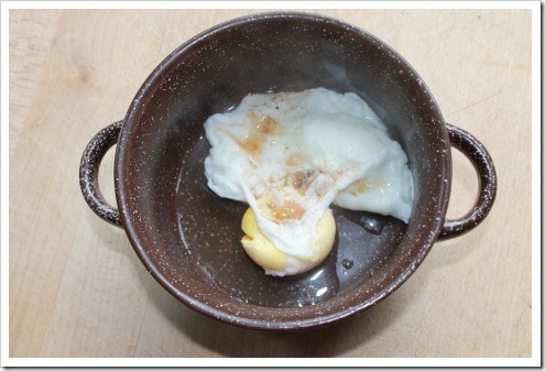 Making a poached egg the wrong way