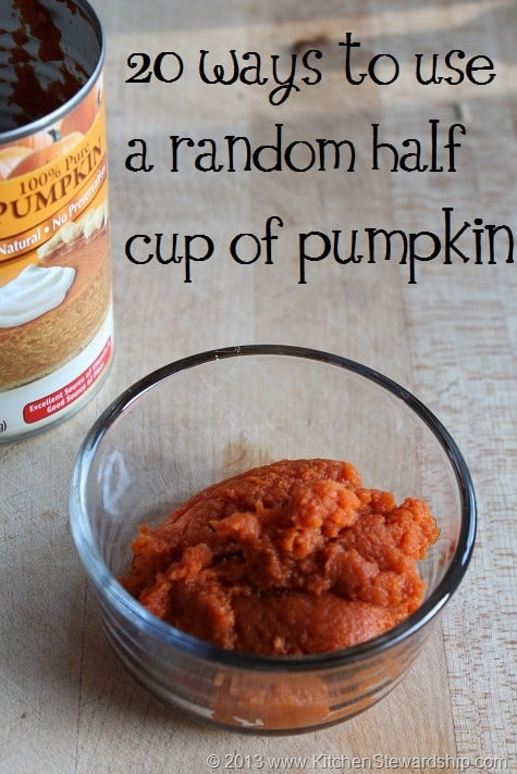 20 Ways to use that Random Half Cup of Pumpkin