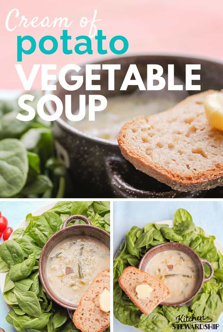 When you start with a creamy potato soup base you can add just about any vegetables and your kids will still love it! Cream of potato vegetable soup will soon be a weekly favorite.