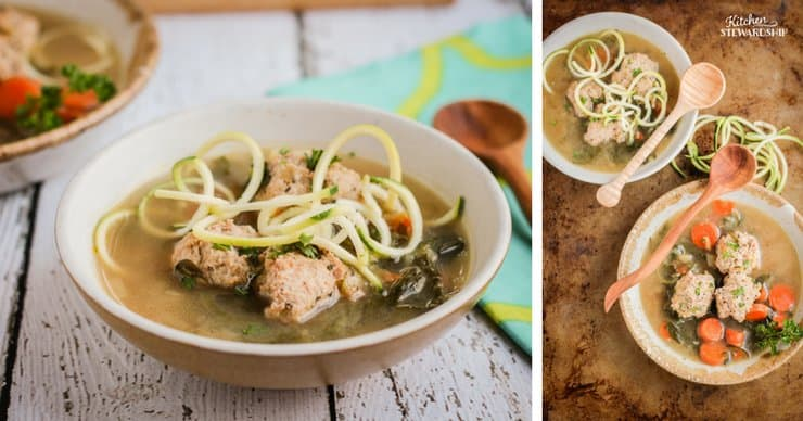 meatball soup with zoodles