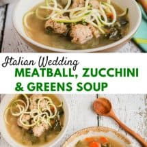 Quick Italian Wedding Meatball Zucchini Soup with Greens Recipe