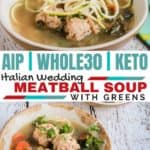 Get your greens and please your kids all in one with this nourishing Italian meatball soup! #cleaneatingrecipes #realfood
