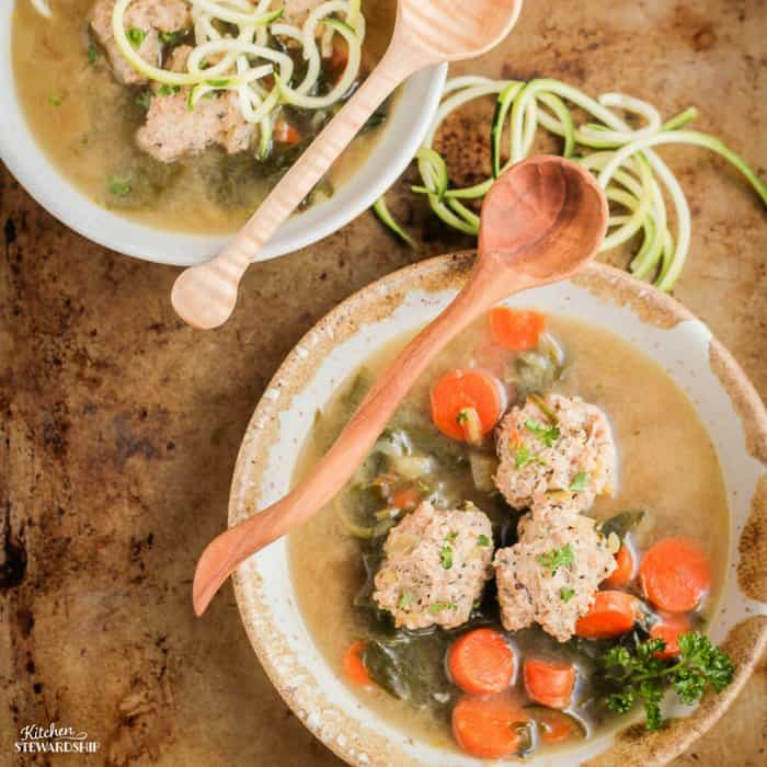 Simple, nourishing Italian meatball soup with zucchini, greens, leeks and carrots. Meatballs are ready in 5 minutes! Very kid-friendly.