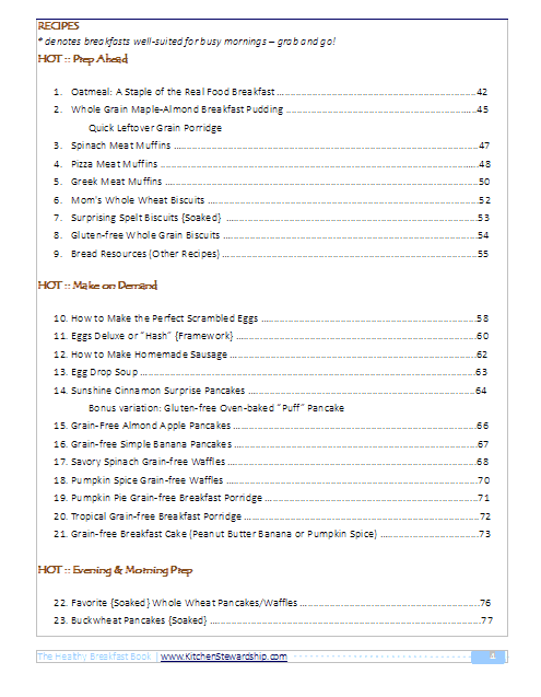 The Healthy Breakfast Book TOC pg2
