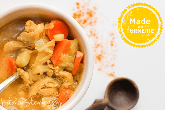 Turmeric Chicken Soup with Cabbage and Coconut - capture the health benefits of turmeric with this simple, warming soup in less than 30 minutes.