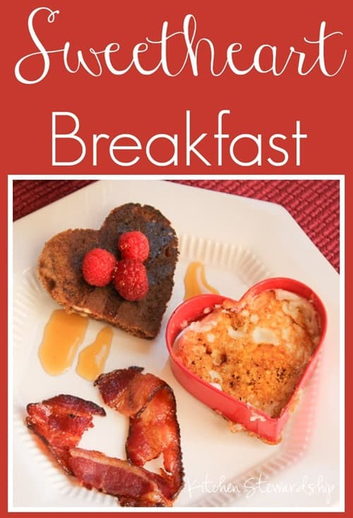Sweetheart Breakfast - heart-shaped eggs, bacon and pancakes
